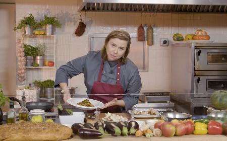 Bakłażan z dynią, w syropie z pigwowca, z pieczonymi boczniakami - przepis z programu Smaki Agaty + WIDEO